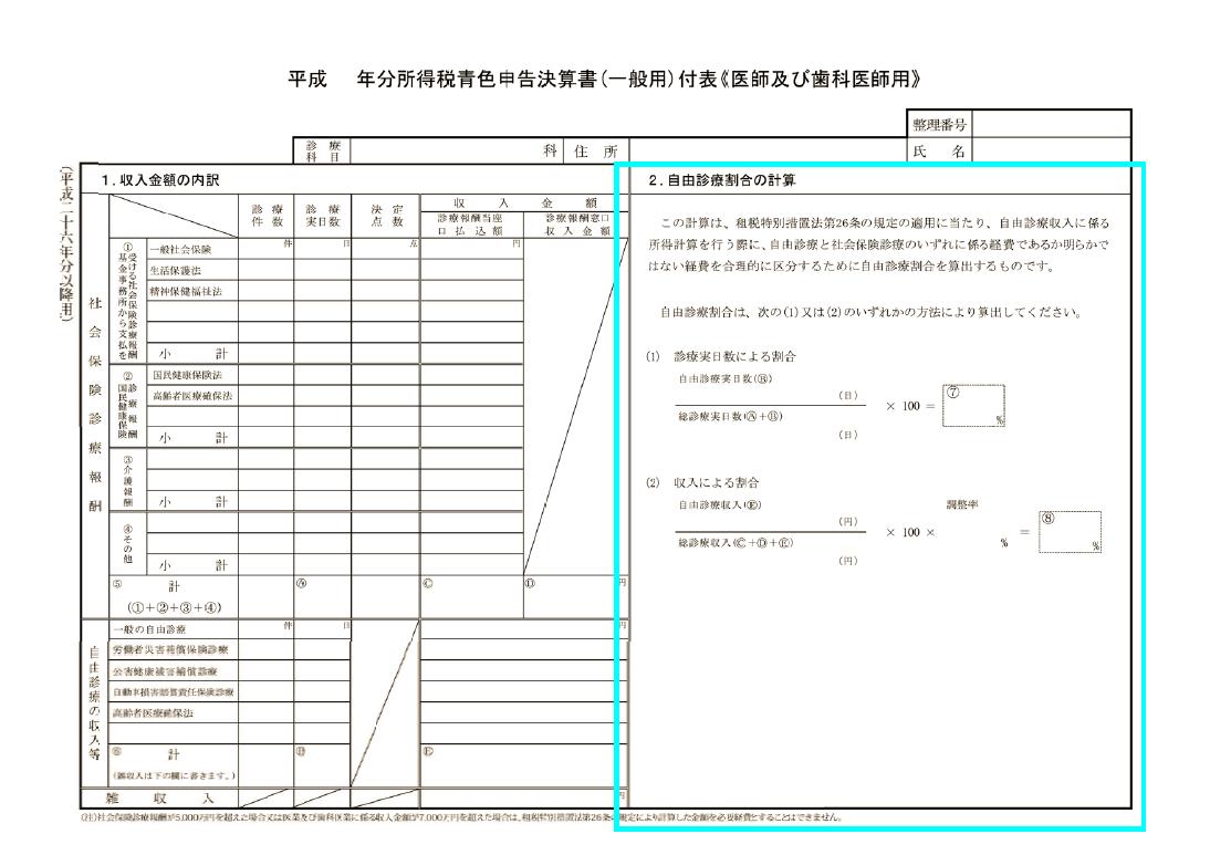 歯科医師用の青色申告決算書付表(自由診療割合の計算)